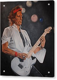 Keith Richards Live Acrylic Print by David Dunne