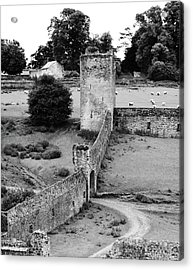 Kells Priory Outer Wall Gatehouse And Fortified Tower County Kilkenny Ireland Black And White Acrylic Print