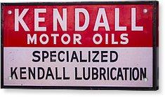 Kendall Motor Oils Sign Acrylic Print