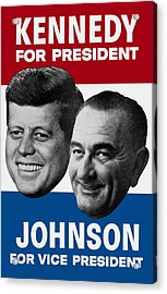 Kennedy And Johnson 1960 Election Poster Acrylic Print by War Is Hell Store