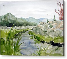 Kennedy Meadows River Acrylic Print by Amy Bernays
