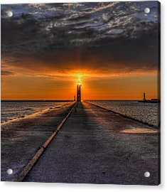 Kenosha Lighthouse Beacon Square Acrylic Print