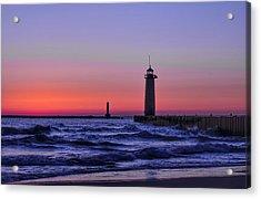Kenosha Lighthouse Blue Waves Acrylic Print
