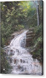 Acrylic Print featuring the pastel Kent Falls by Jack Skinner