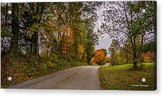 Kentucky County Lane In Fall Acrylic Print by Wendell Thompson