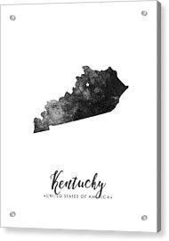 Kentucky State Map Art - Grunge Silhouette Acrylic Print