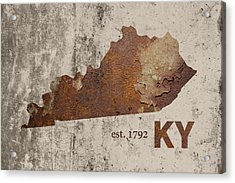 Kentucky State Map Industrial Rusted Metal On Cement Wall With Founding Date Series 002 Acrylic Print by Design Turnpike