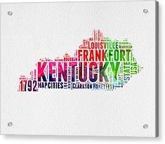 Kentucky Watercolor Word Cloud Map Acrylic Print