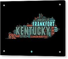Kentucky Word Cloud Map 1 Acrylic Print