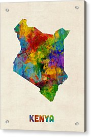 Acrylic Print featuring the digital art Kenya Watercolor Map by Michael Tompsett