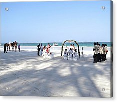 Kenya Wedding On Beach Wide Scene Acrylic Print