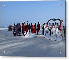 Kenya Wedding On Beach With Maasai Acrylic Print