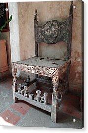 Kenyan African Antique Carved Chair Acrylic Print by Exploramum Exploramum