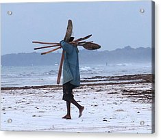 Kenyan Fisherman And Oars Acrylic Print