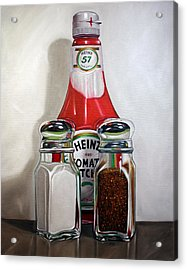 Ketchup And Salt And Pepper Shaker Acrylic Print by Vic Vicini