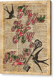 Key To My Heart Dictionary Art Acrylic Print by Jacob Kuch