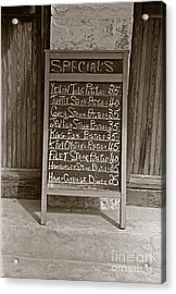 Acrylic Print featuring the photograph Key West Depression Era Restaurant Specials by John Stephens