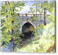 Keystone Bridge On Pemaquid River Acrylic Print by Peggy Bergey