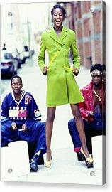 Kiara Kabukuru Wearing A Wool Giorgio Armani Coat Acrylic Print