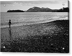 Kid On Beach-st Lucia Acrylic Print by Chester Williams