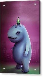 Kid Rides Giant Pet Acrylic Print by Rui Barros