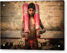 Kid With Bat Acrylic Print