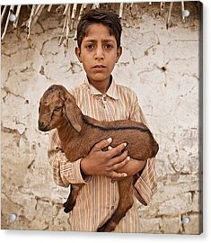 Kid With Goat Acrylic Print