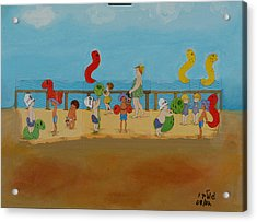 Kids At The Beach Acrylic Print by Harris Gulko