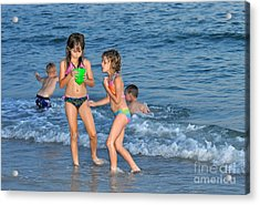 Kids At The Beach Acrylic Print by Rose  Hill
