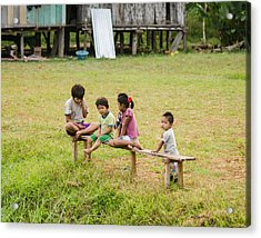 Kids In Front Of Their School Acrylic Print
