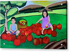 Kids Playing And Picking Apples Acrylic Print by Lorna Maza