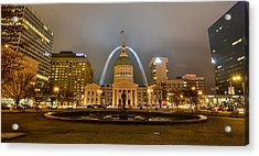 Kiener Plaza And The Gateway Arch Acrylic Print
