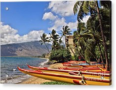 Acrylic Print featuring the photograph Kihei Canoe Maui by DJ Florek