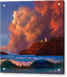 Kilauea Lighthouse - Hawaiian Cliffs Sunset Seascape And Clouds Acrylic Print
