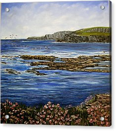 Kilkee Cliffs Ireland Oil Painting Acrylic Print by Avril Brand