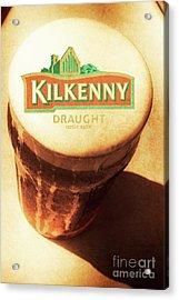 Kilkenny Draught Irish Beer Rusty Tin Sign Acrylic Print by Jorgo Photography - Wall Art Gallery