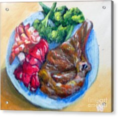 Acrylic Print featuring the painting Killer Meal by Saundra Johnson