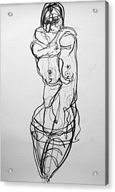 Acrylic Print featuring the drawing Kilroy 5 by Jarmo Korhonen aka Jarko
