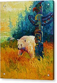 Kindred Spirits - Kermode Spirit Bear Acrylic Print by Marion Rose