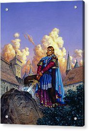 King Arthur Acrylic Print by Richard Hescox