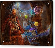Acrylic Print featuring the painting King Arthur's Merlin by Steve Roberts
