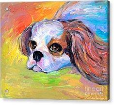 King Charles Cavalier Spaniel Dog Painting Acrylic Print by Svetlana Novikova