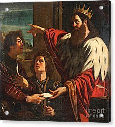 King David Giving Uriah A Letter Acrylic Print by MotionAge Designs