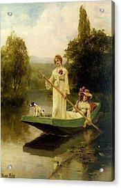 King Henry John Yeend Two Ladies Punting On The River Acrylic Print