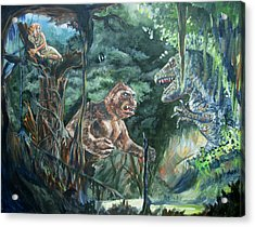 Acrylic Print featuring the painting King Kong Vs T-rex by Bryan Bustard