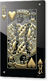 King Of Hearts In Gold On Black Acrylic Print