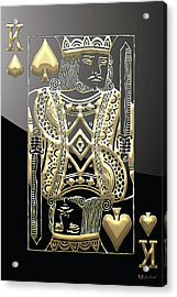 King Of Spades In Gold On Black   Acrylic Print