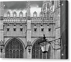Acrylic Print featuring the photograph Kings College Chapel Cambridge Exterior Detail by Gill Billington