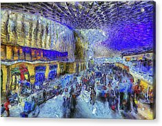 Kings Cross Rail Station London Art Acrylic Print by David Pyatt