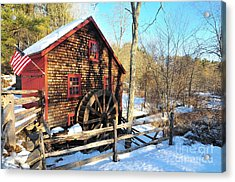 Kingsbury Grist Mill  Acrylic Print by Catherine Reusch Daley